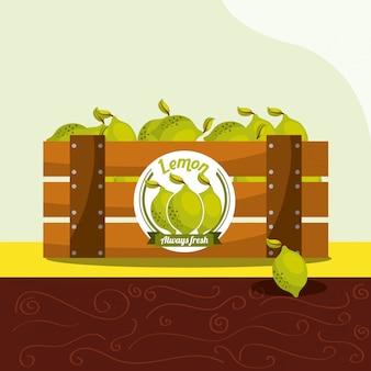 Фрукты лимона всегда свежие в деревянной корзине
