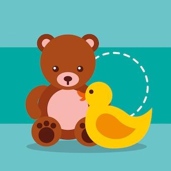 Милые игрушки мишка тедди и пластиковая утка