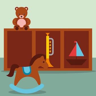 ロッキングホーストランペットテディとヨットの家具のおもちゃ