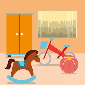 部屋のクローゼットとロッキングホースの自転車ボール