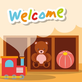 Добро пожаловать детский сад игрушки медведь поезд и мяч