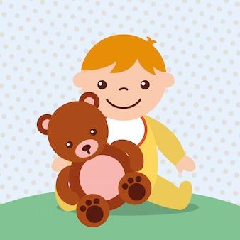 クマのぬいぐるみのかわいい幼児男の子