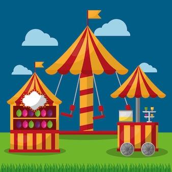 Карнавальная ярмарка карусельного фестиваля и тележка для продуктов питания