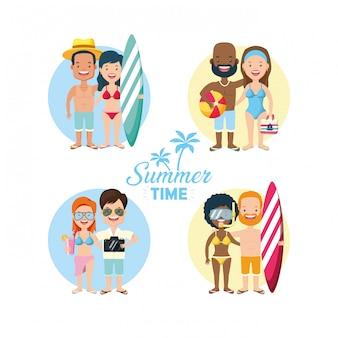 Люди отдыхают летом