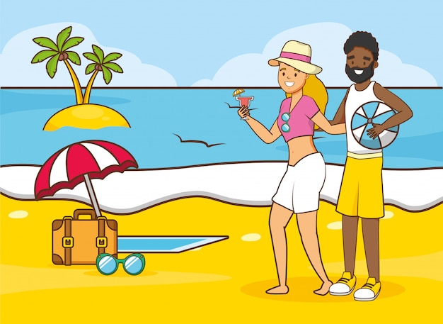 Люди пляжный отдых