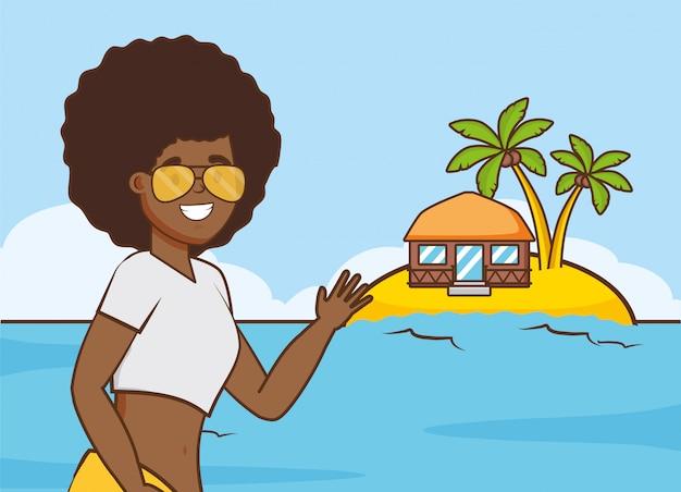 ビーチでの休暇の女の子