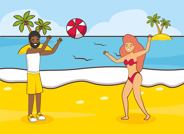 ビーチでの休暇の人々