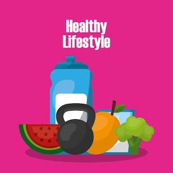 ボトル水重量バーベルマンゴブロッコリー健康的なライフスタイル