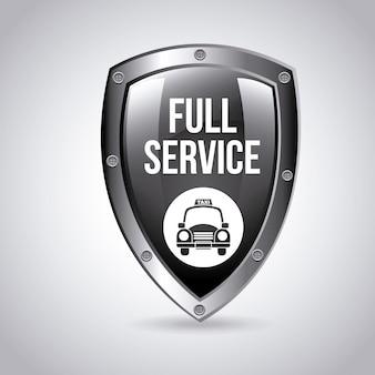 タクシーサービスシールドロゴグラフィックデザイン