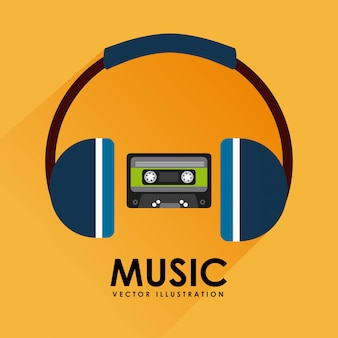 音楽カセットテープとヘッドフォンのグラフィックデザイン