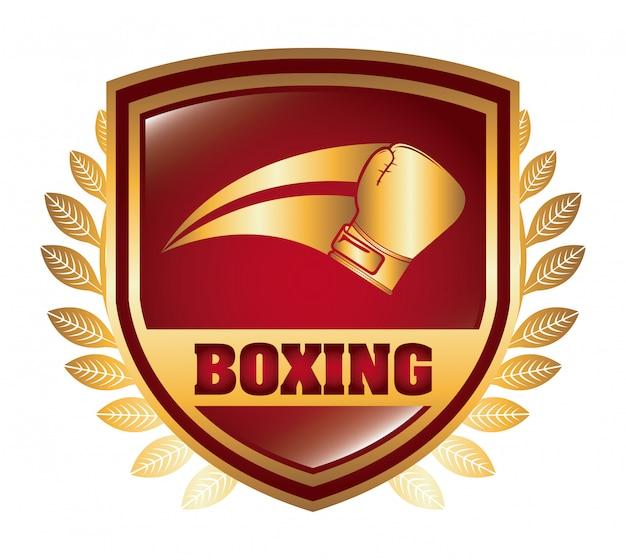 ボクシングシールドロゴグラフィックデザイン