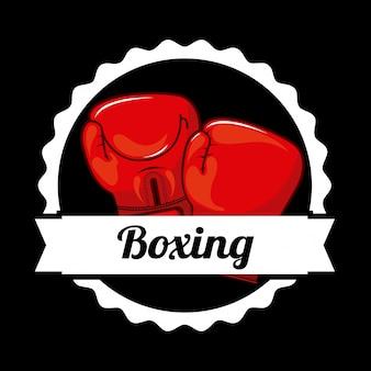 ボクシングバッジロゴグラフィックデザイン