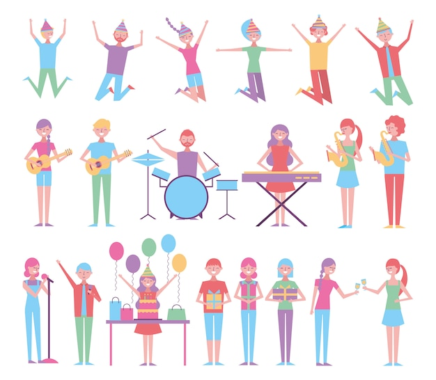楽器で誕生日を祝う人々のセット