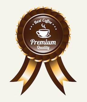 リボン付きコーヒーロゴエンブレム