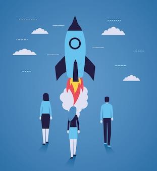ビジネスマンロケット打ち上げスタートアップ