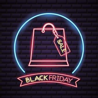 Черная пятница покупки в неоновых огнях