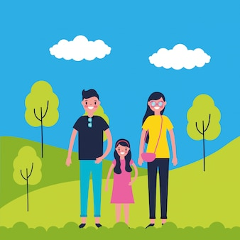 公園で家族