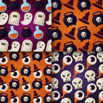 Счастливый день хэллоуин бесшовные модели установлен