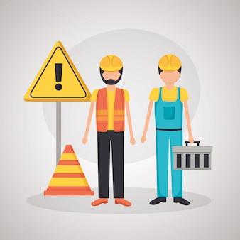 Рабочие строительная техника