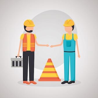 建設労働者のトラフィックコーン
