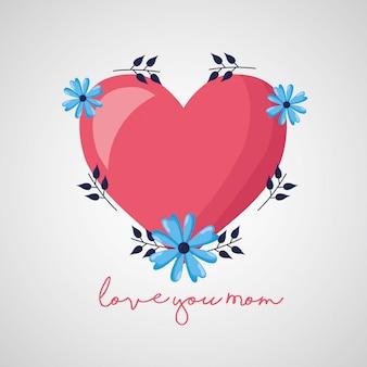 母さん大好きです。幸せな母の日グリーティングカード