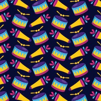 カーニバルドラムと花火のシームレスパターン