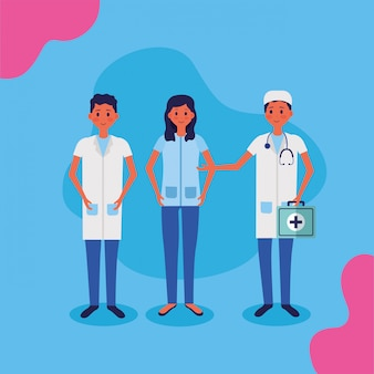 Медицинские люди сотрудники векторные иллюстрации