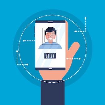 Рука с мобильным человеком сканирования лица