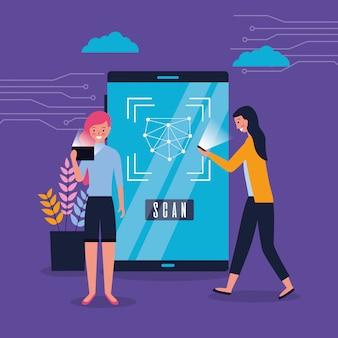 Женщины, использующие смартфон с биометрическим сканированием лица