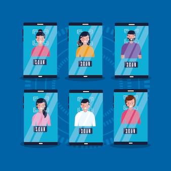 人々はスキャン携帯電話のセキュリティアクセスに直面