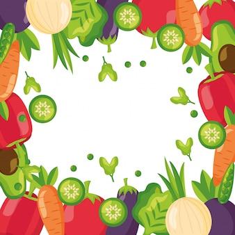 健康食品の新鮮なフレームの背景