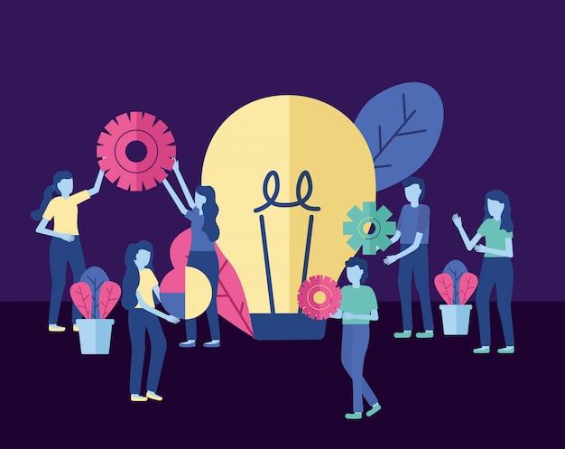 ギア電球を持つビジネス人々