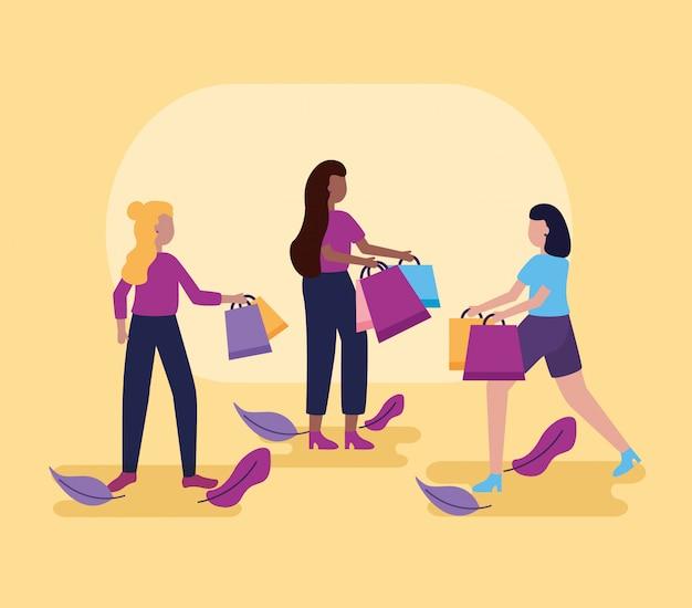 買い物袋を持つ人々