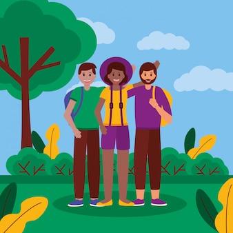 Счастливые молодые люди в парке
