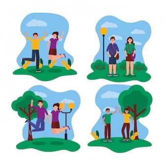 Счастливые молодые люди в парке иллюстрации набора