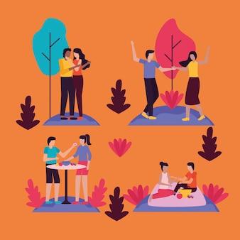カップルロマンチックな活動屋外フラット