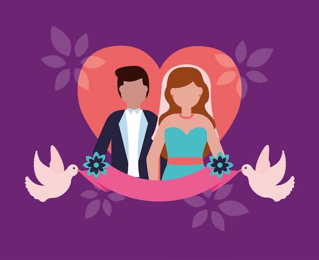 Свадебная пара в плоском стиле