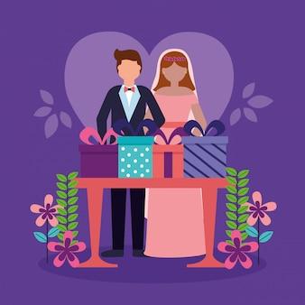 フラットスタイルの結婚式のカップル