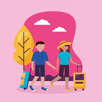 Люди и путешествия плоский дизайн