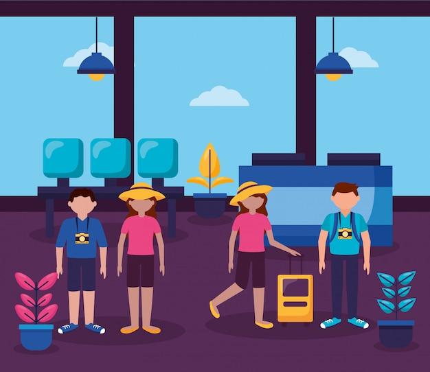 人と旅行のフラットデザイン