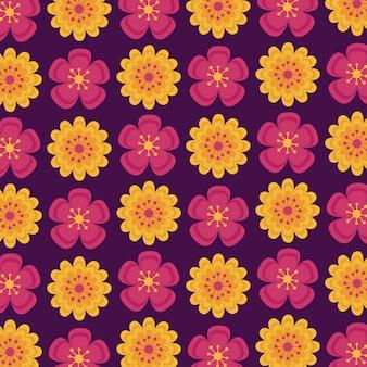 秋のインドの花のシームレスパターン