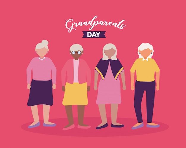 Счастливый бабушка и дедушка день плоский дизайн