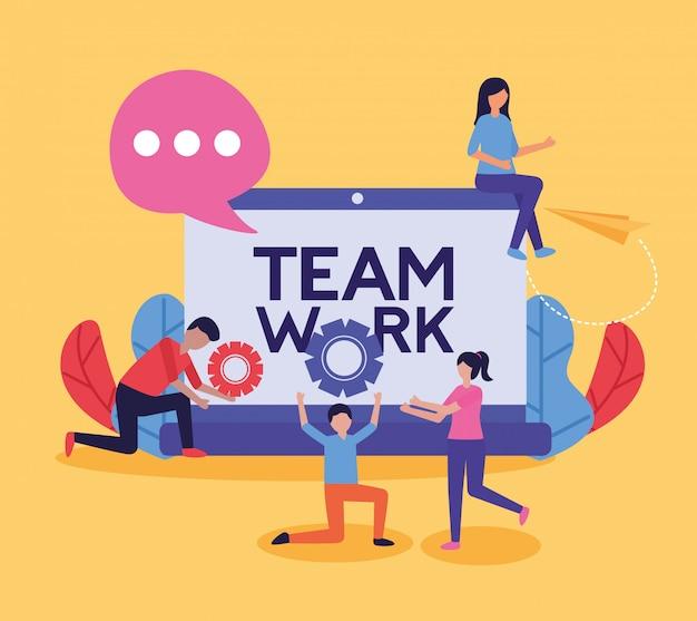 Люди работа в команде плоский дизайн изображения
