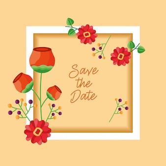 結婚式は日付の花カードフレームを保存します