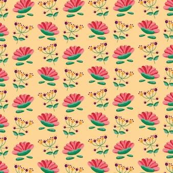 シームレスパターンの花葉葉装飾
