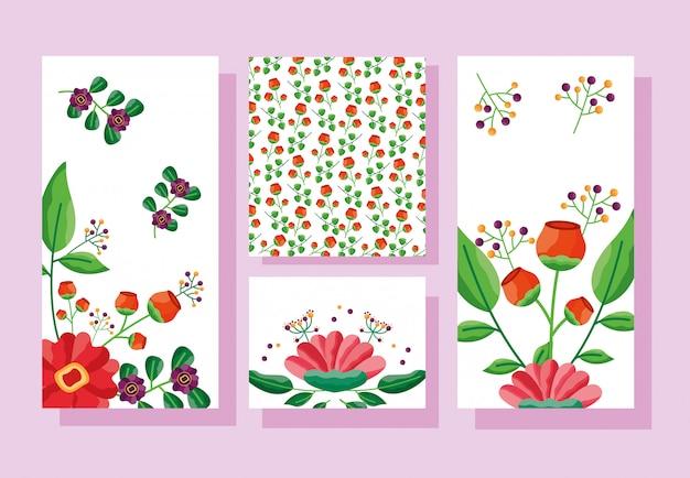 結婚式は日付の花カードを保存します