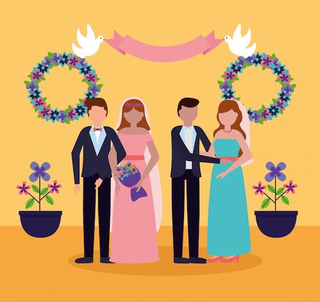 フラットスタイルの結婚式の人々
