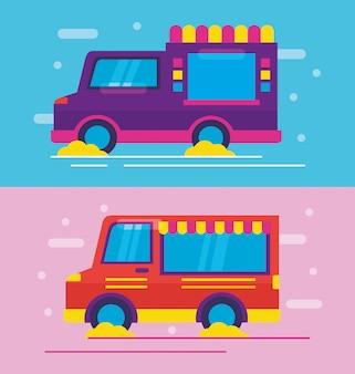フラットスタイルのフードトラック
