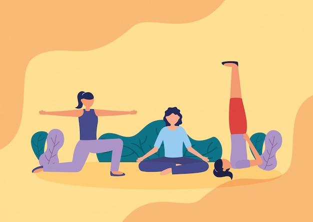 Люди йоги на улице в плоском стиле