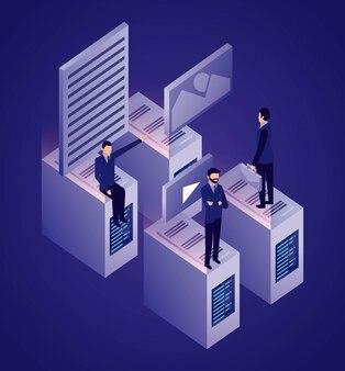 Бизнесмен сети передачи данных